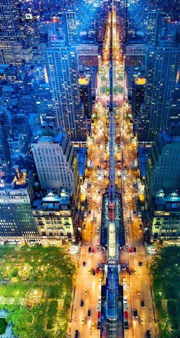 城市街道夜空H5背景素材
