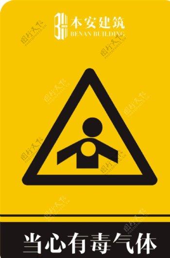当心有毒气体警告标识