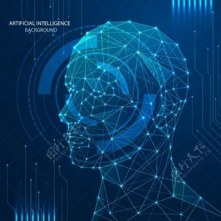 人脸识别科技数字信息海报