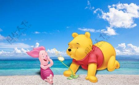 蓝天大海白云小熊维尼小猪