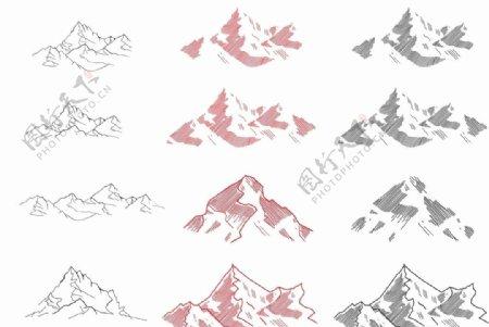 山峰山脉CDR矢量图元素图案
