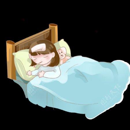 感冒生病发烧卧床不起的小女孩