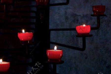 教堂蜡烛祈祷光烛光深