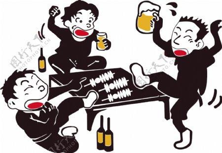 喝酒加撸串卡通图