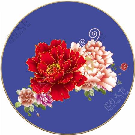 花开富贵花牡丹花地贴