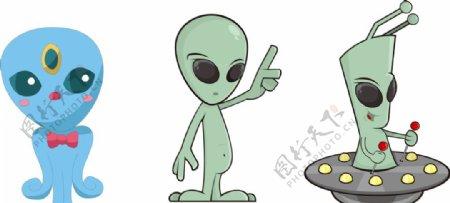 卡通外星人UFO怪物怪兽插画