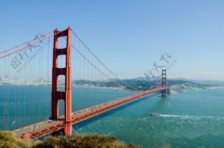 城市建筑大桥天空蓝色背景素材