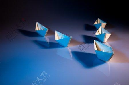 折纸小船ppt背景