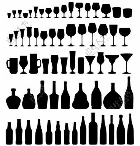 玻璃和瓶矢量剪影集合