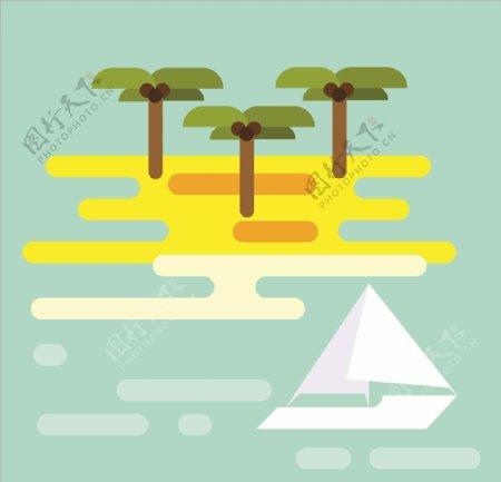 夏日海滩AI分层SVG文件