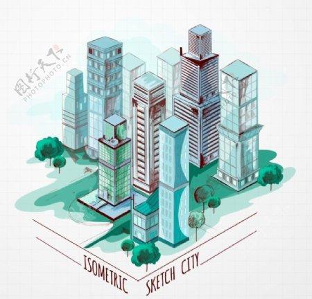 城市手绘鸟瞰素材