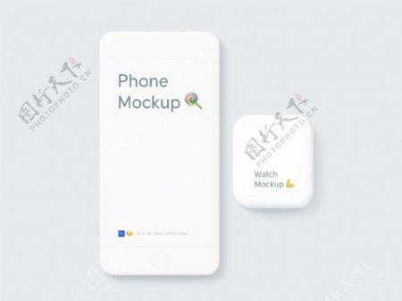 清爽手机手表UI界面贴图样机