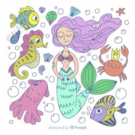 创意美人鱼和海洋动物矢量素材