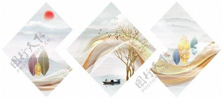 新中式线条飘带意境山水装饰画