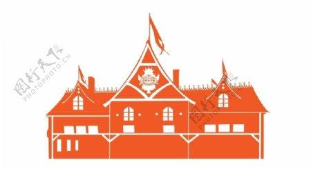 巧克力王国欧式建筑剪影