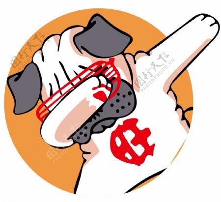 旺财狗狗图案卡通漫画潮牌图案