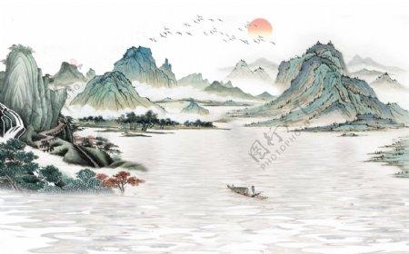 意境山水背景墙