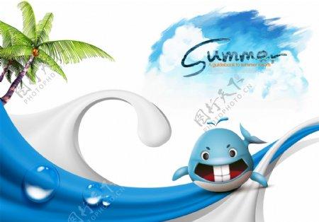 夏天蓝色清新活泼海洋鱼宣传海报