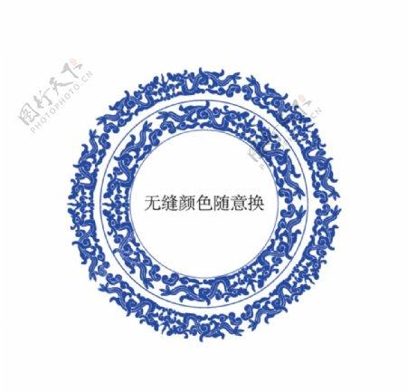 中国传统龙纹无缝花边边框