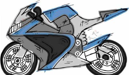 卡通漫画摩托车
