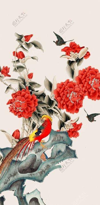 中式画装饰画玄关屏风电视背景墙