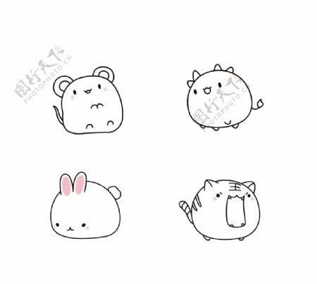 卡通动物插画设计