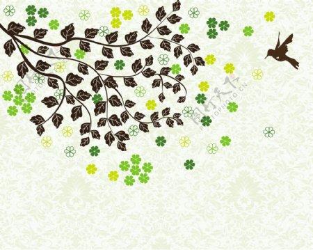 抽象树叶小燕子