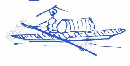 江山渔者钢笔画素描线条画