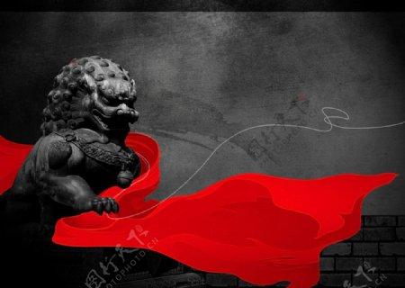 古风红绸狮子石像宣传海报