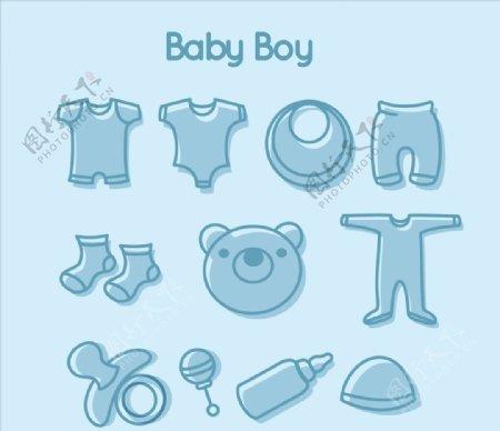 手工绘制男婴