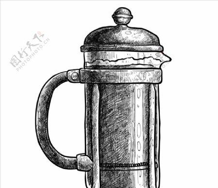 手绘复古啤酒杯图片