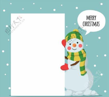 圣诞雪人和空白纸张图片