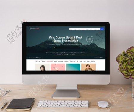 屏幕优美的桌面场景演示样机图片