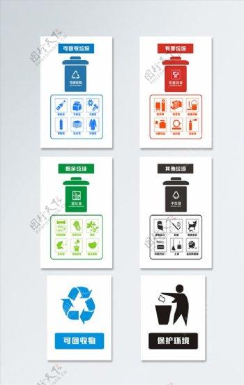 分类垃圾桶导视门牌图片