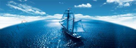 蓝色海洋banner背景图片