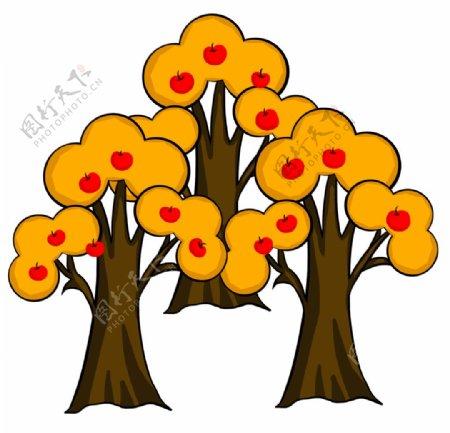 手绘苹果树图片
