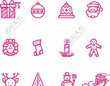 圣诞节线性图标图片