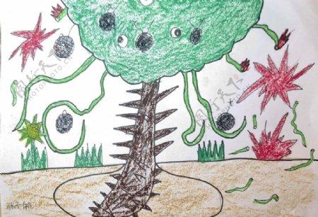 儿童画简笔画神奇的手榴弹球图片
