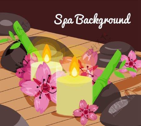 水疗花卉和蜡烛图片
