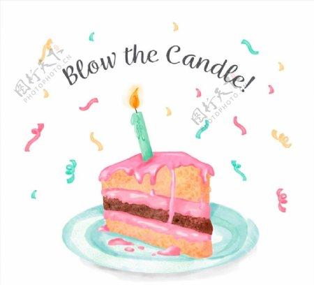 插着蜡烛的三角蛋糕图片
