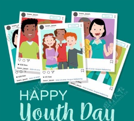 青年节堆叠照片图片