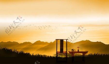 茶禅意书香远山境界图片