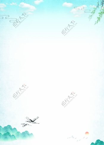 中国风山水背景模板信纸图片