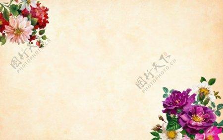 鲜花牛皮纸背景图片