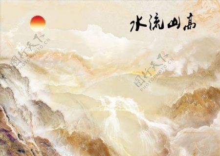 山水画高山流水背景墙图片