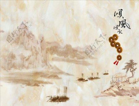 水墨山水小船顺风顺水背景墙图片