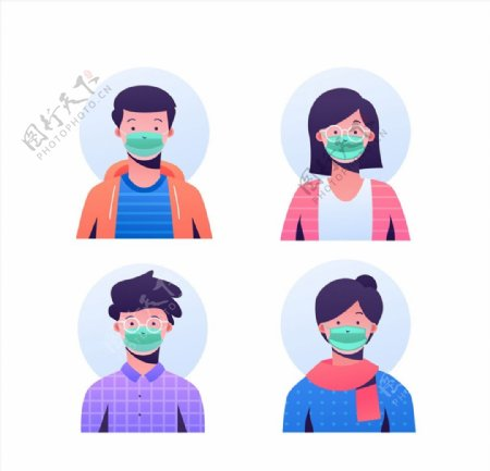 戴口罩人物头像图片