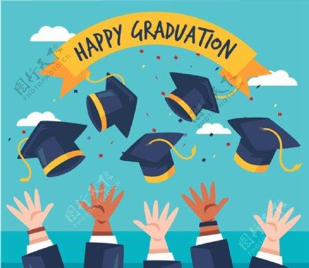 毕业欢呼人群手臂图片