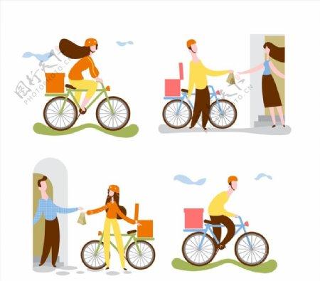单车送货员矢量图片