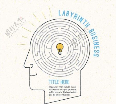创意脑中的迷宫图片